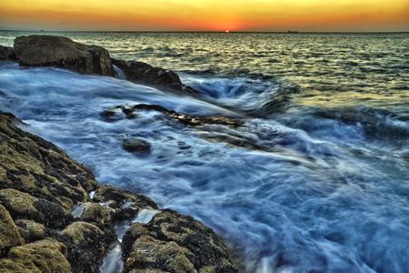 definite: Sunset on the coast. Doniños- Ferrol (Spain) Stock Photo
