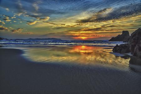 atlantic: Sunset on atlantic coast. Stock Photo