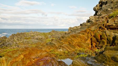 coastline: Coastline over atlantic ocean. Stock Photo