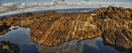 atlantic: Coastline over atlantic ocean. Stock Photo