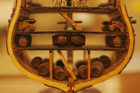 antique ship model inside the showcase