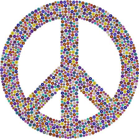 Peace symbol, flower pattern Vetores