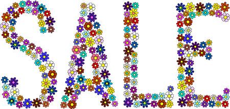 flowered: Flowered sale sign, vector illustration
