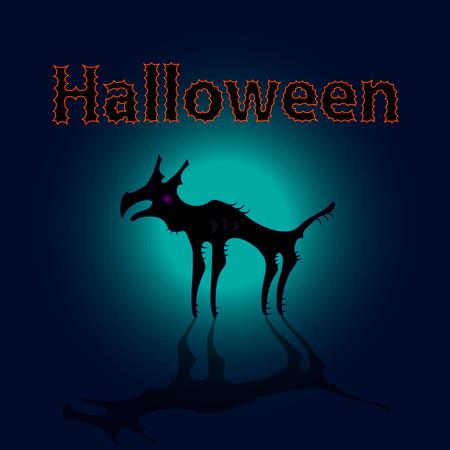 angry sky: Monster dog in moon shine, halloween