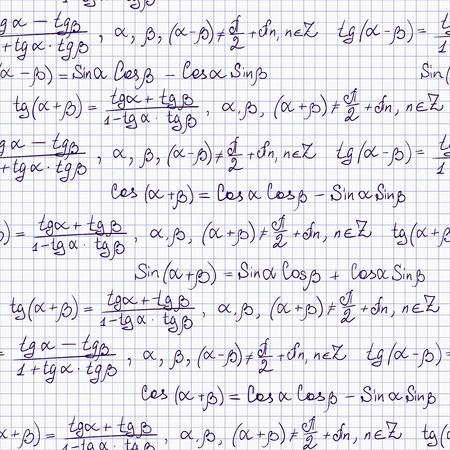 tangent: Seamless pattern with trigonometric formulas, notepad list Illustration