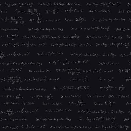 tangent: Seamless pattern, with trigonometric formulas Stock Photo