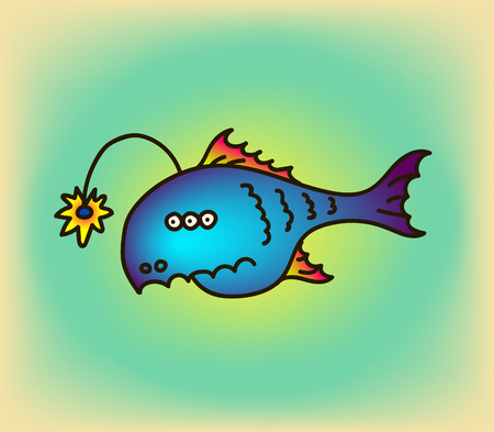 the trench: Cartoon party anglefish vector illustration.