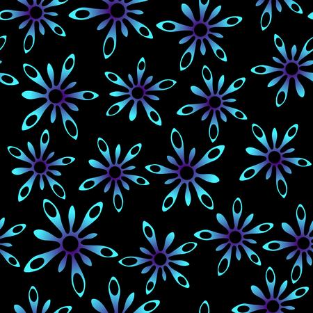 vehement: Blue neon splash flowers in space, seamless texture