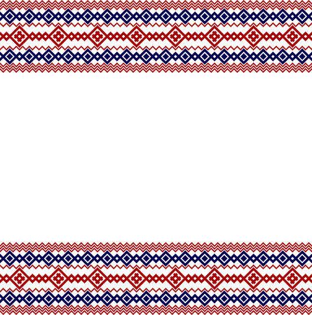 national border: Russian, ukrainian and scandinavian national knit styled border, red and blue colors. Illustration