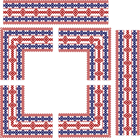 national border: Set of frame elements for russian, ukrainian and scandinavian national knit styled border, red and blue colors,