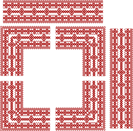 national border: Set of frame elements for russian, ukrainian and scandinavian national knit styled border, traditional red color.