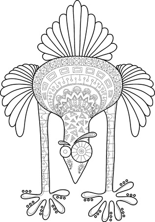 antistress: Crazy ostrich with doodle pattern, cartoon vector illustration. Contour black and white image for antistress coloring book. Illustration