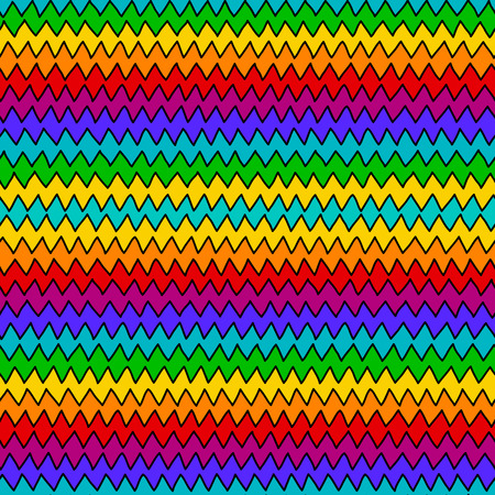zig zag: Rainbow color hand drawn zig zag seamless pattern for textile or background