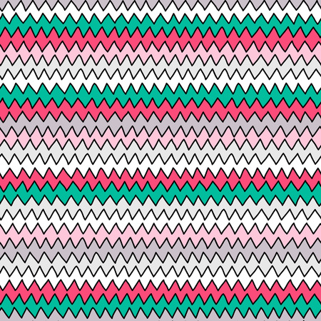 zig zag: Pastel hand drawn zig zag seamless pattern for textile or background
