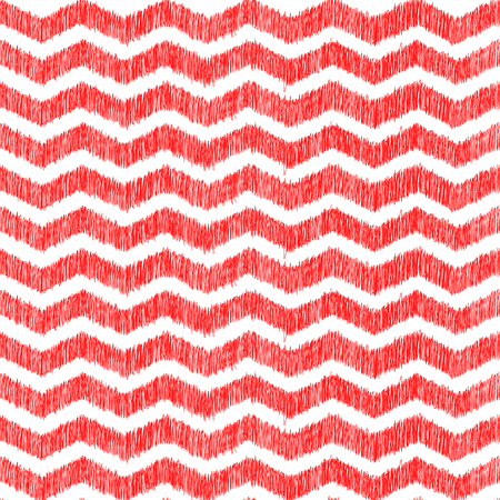 zig zag: Abstract zig zag chevron seamless pattern, red and white background with hand drawn texture
