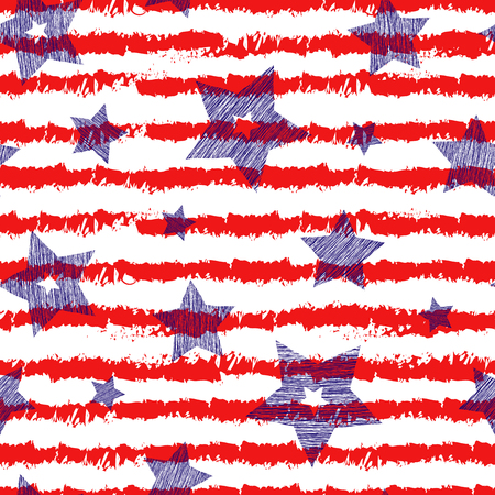backgrouns: Stars and stripes seamless pattern for wraping paper, backgrouns and textile