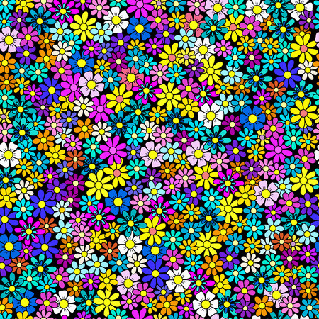 amaranthine: field of flowers, seamless pattern, multicolor doodle style texture Illustration