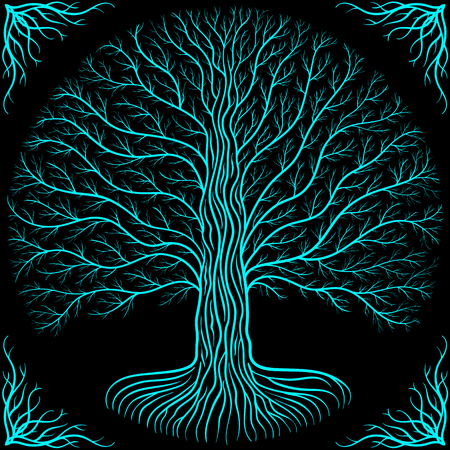 odin: tree at night, round silhouette, black and blue vector logo. Gothic ancient book style Illustration