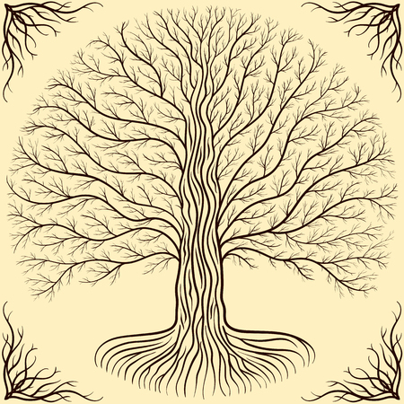brow: round silhouette, cream and brow. Gothic ancient book style Illustration