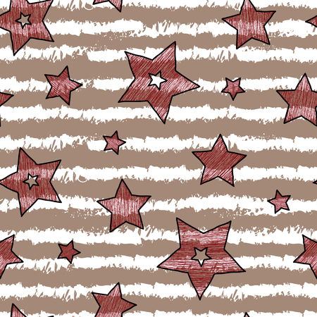 backgrouns: Stars and stripes seamless texture for wraping paper, backgrouns and textile, vanilla coffee and cherry colors. Illustration