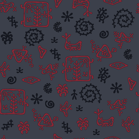 dark cave: rock painting style pattern, dark cave colors, seamless texture for textile, background, wallpaper and wrapping paper. Illustration