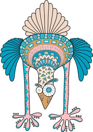 avestruz loca con el patrón de garabato, ilustración vectorial de dibujos animados multicolor