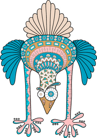 Crazy ostrich with doodle pattern, multicolor cartoon vector illustration