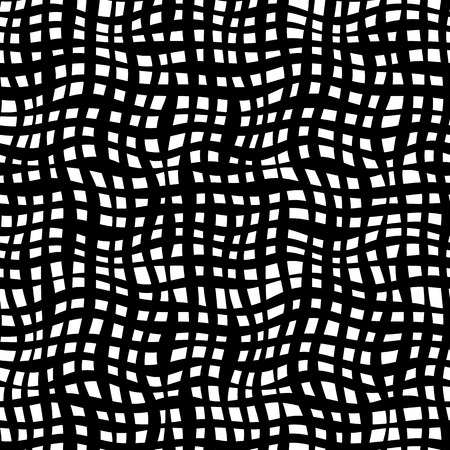 concave: Black and white illusion, net waves. Curved net simply seamless monochrome pattern for backdrop, textile, wrapping paper and other