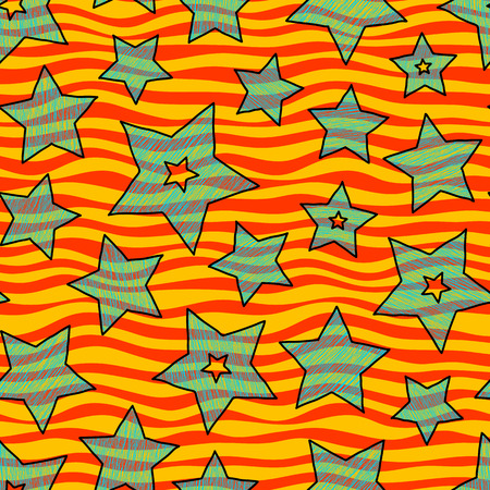backgrouns: Stars and zigzag seamless pattern for wraping paper, backgrouns and textile, bright holiday colors Illustration