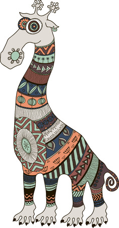 Crazy zoo. Polynesian, maori and african style tattooed cartoon giraffe, vector illustration
