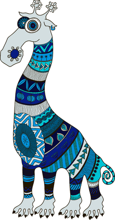 クレイジー動物園。マオリ、ポリネシア、アフリカ スタイル刺青漫画キリン、ベクトル イラスト