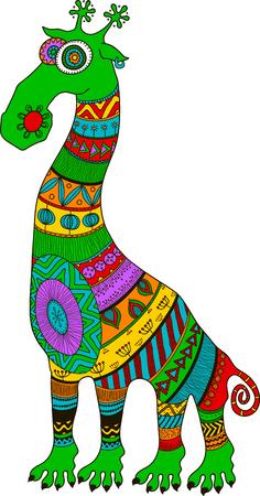 クレイジー動物園。マオリ、ポリネシア、アフリカのスタイルは入れ墨漫画エイリアン キリン、ベクトル図です。明るい色