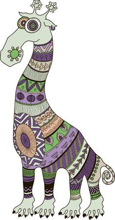 Crazy zoo. Polynesian, maori and african style tattooed cartoon giraffe, vector illustration