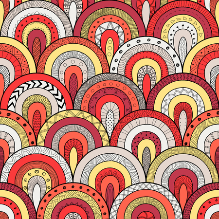 squama: Tribal loop seamless pattern, indian or african ethnic patchwork style. Round tiles with hand drawn texture. Vector image for fashion textile, decorative background, wrapping paper Illustration