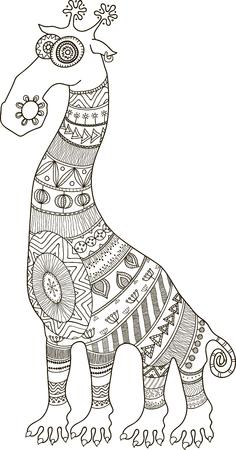 クレイジー動物園。アフリカ スタイルの刺青漫画キリン、塗り絵の輪郭ベクトル図です。