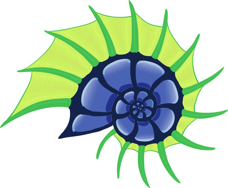 ocean horned spiral shell, green and blue vector image.
