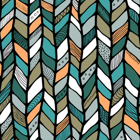 nomad: Tribal style braided seamless pattern, ethnic chevron multicolor. Braid lines.