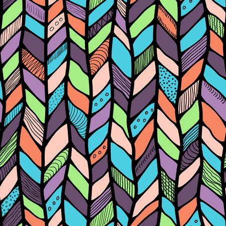 braided: Tribal style braided seamless pattern, ethnic chevron multicolor. Braid lines.