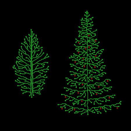 microcircuit: Hi-tech Christmas tree set. Circuit style, vector image.