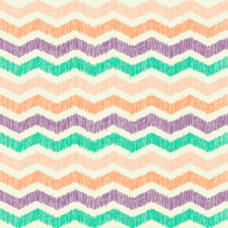 Abstract zig zag chevron seamless pattern, black and white background with hand drawn texture