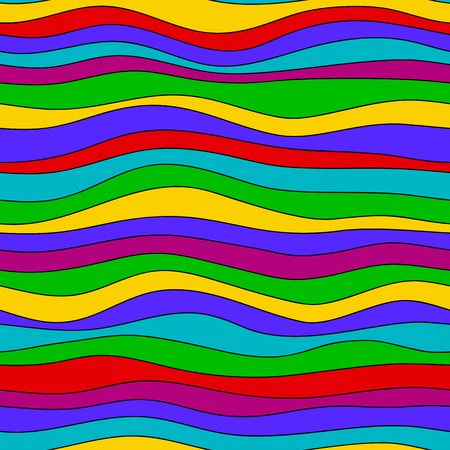 Colorful rainbow wave texture, seamless vector pattern for textile, backdrops, wallpapers, wrapping paper and other. gay pride colors. Illustration