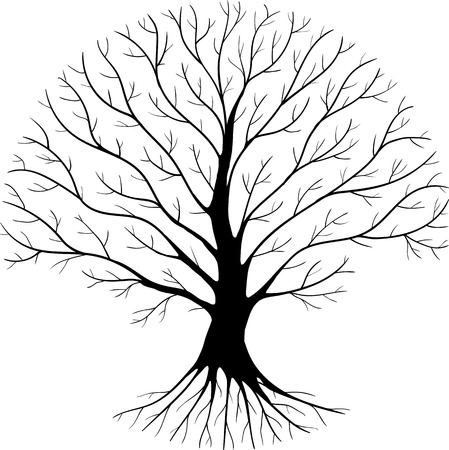 druid: Druidic tree, round silhouette, black and white logo Illustration