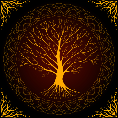 Druidic Yggdrasil tree, round dark gothic logo. ancient book style. Illustration