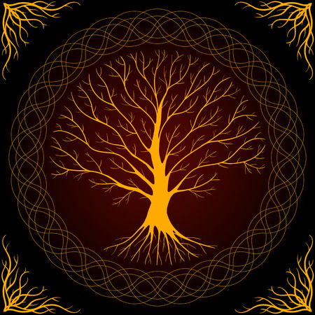 Druidic Yggdrasil tree, round dark gothic logo. ancient book style. Stock Photo