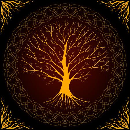 braided: Druidic Yggdrasil tree, round dark gothic logo. ancient book style. Stock Photo