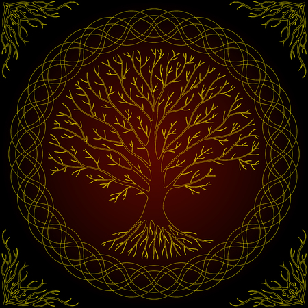 Druidic Yggdrasil tree, round dark gothic logo. ancient book style. Stock Photo
