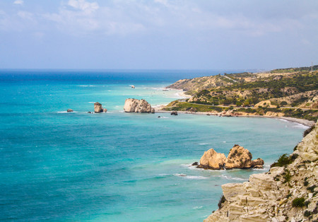 Cyprus, Petra-tou-Romiou, legendary Aphrodites birthplase. Sea view. Cloudy spring day.