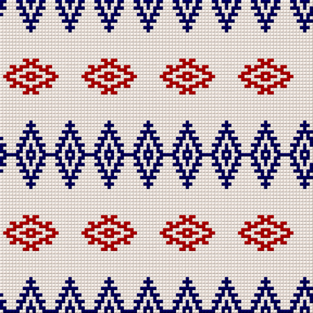 Embroidery or knit russian and ukrainian national seamless pattern, red blue and white color.