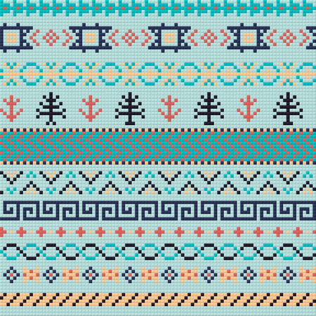 slavonic: Embroidery or knit russian and ukrainian national seamless pattern.