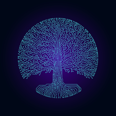Hi-tech circuit style round yggdrasil tree. Cyberpunk futuristic design. Ilustração